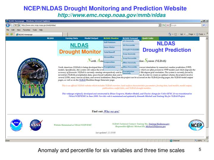 NCEP/NLDAS Drought Monitoring and Prediction Website