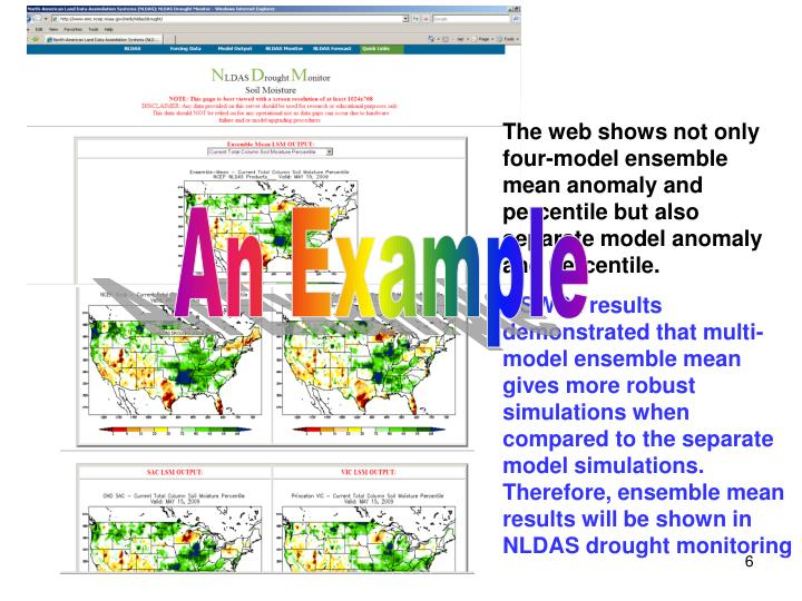 The web shows not only four-model ensemble mean anomaly and percentile but also separate model anomaly and percentile.