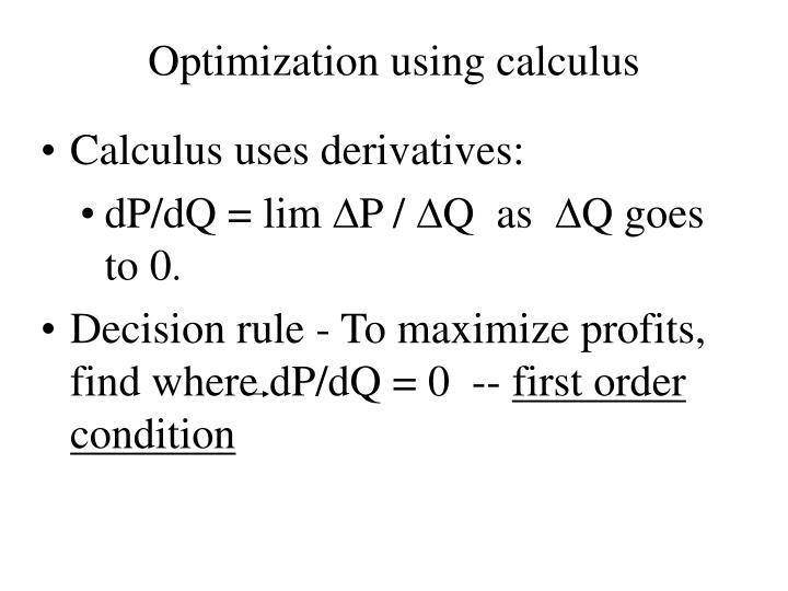 Optimization using calculus