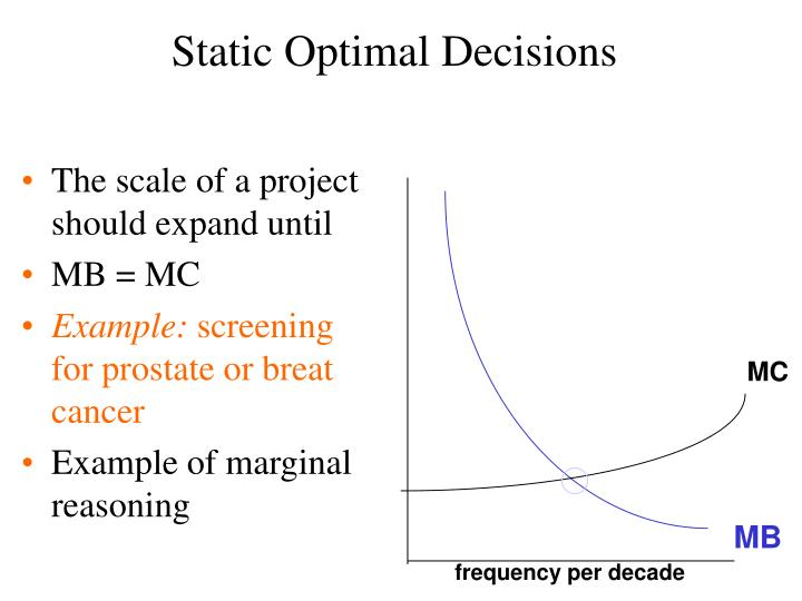 Static Optimal Decisions