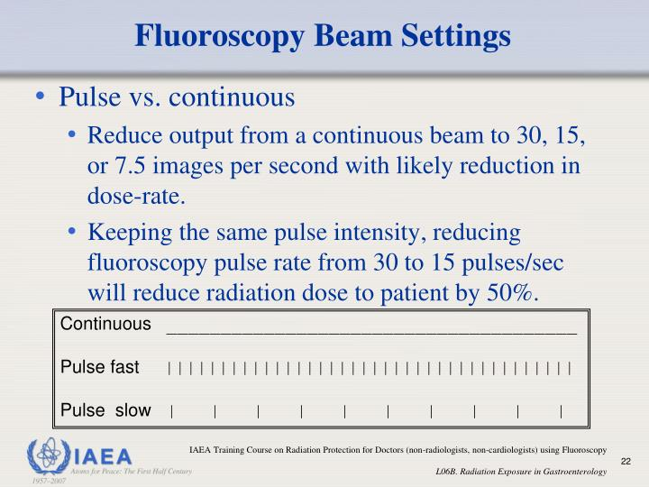 Fluoroscopy Beam Settings