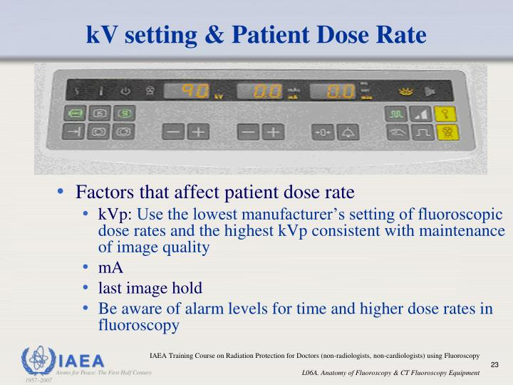 kV setting & Patient Dose Rate
