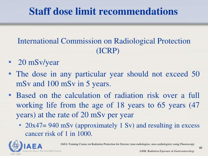 Staff dose limit recommendations