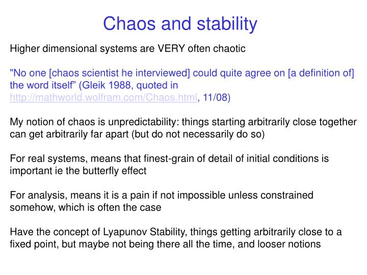 Chaos and stability