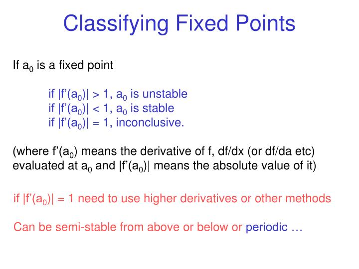 Classifying Fixed Points