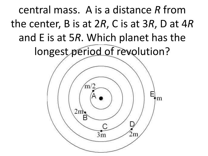 Five masses are in orbit around a central mass.  A is a distance