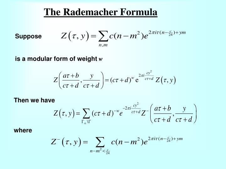 The rademacher formula
