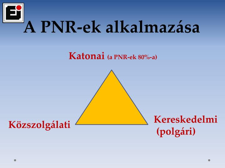 A PNR-ek alkalmazása