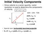 initial velocity components