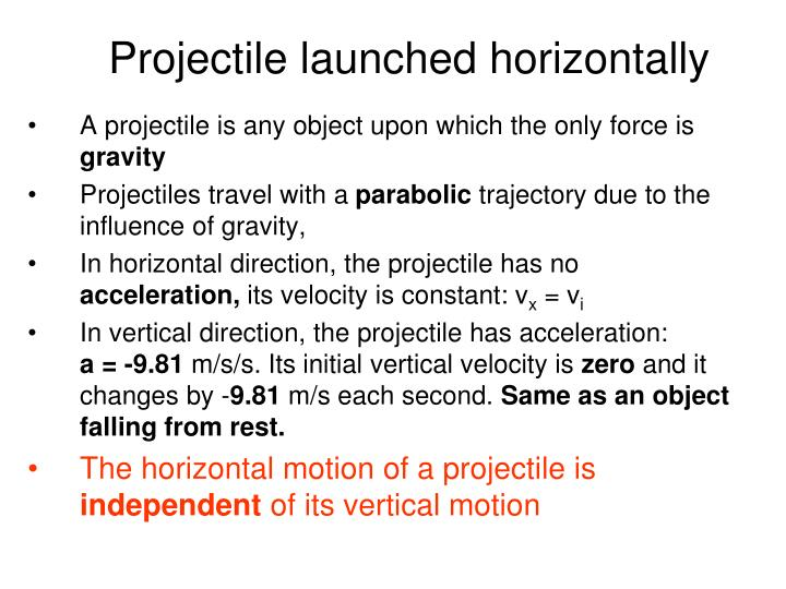 Projectile launched horizontally