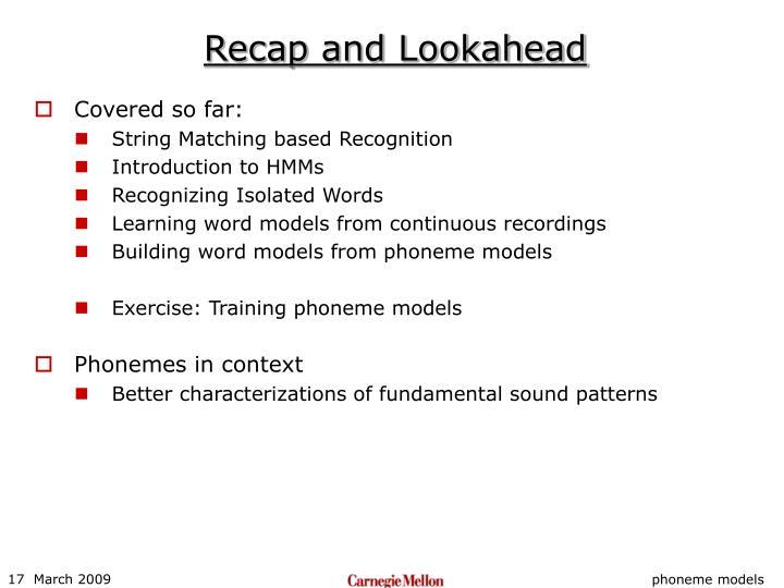 Recap and Lookahead