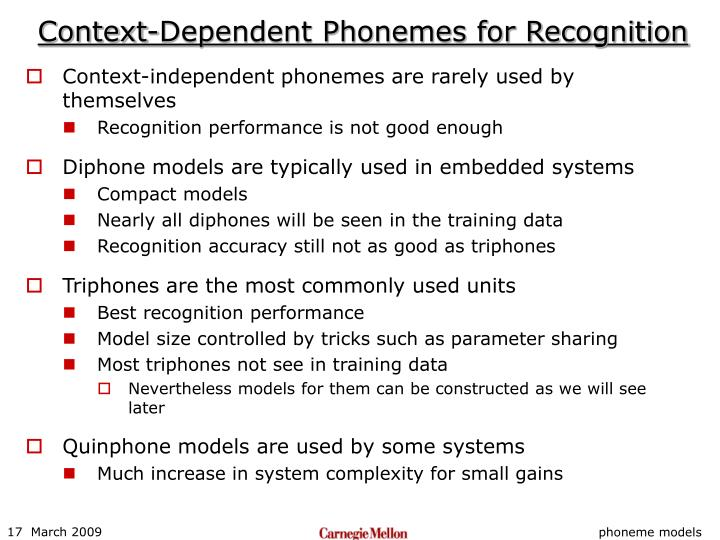Context-Dependent Phonemes for Recognition