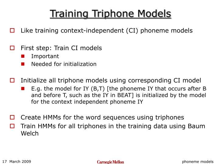 Training Triphone Models