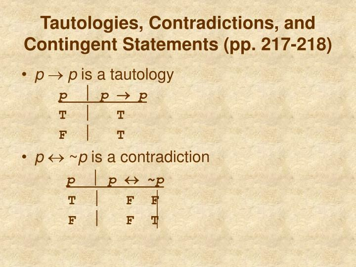 Tautologies, Contradictions, and Contingent Statements (pp. 217-218)