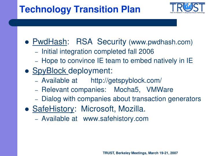 Technology Transition Plan