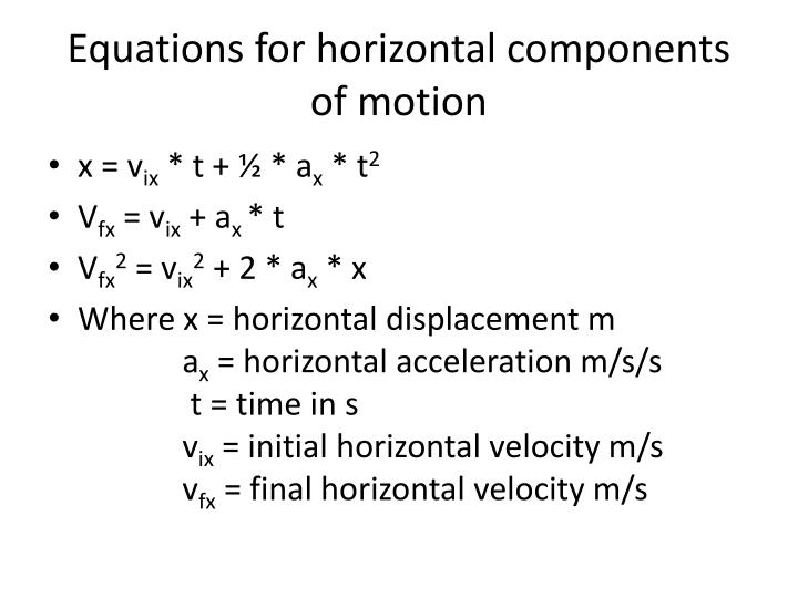 Equations for horizontal components of motion