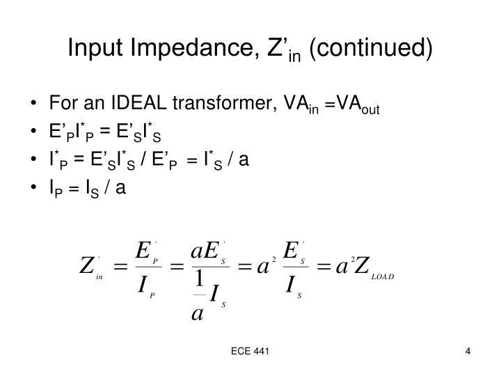 Input Impedance, Z'