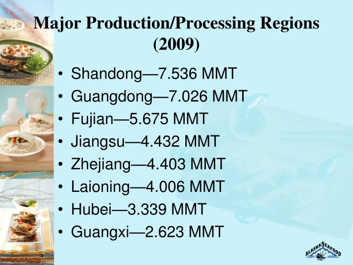 Major Production/Processing Regions (2009)