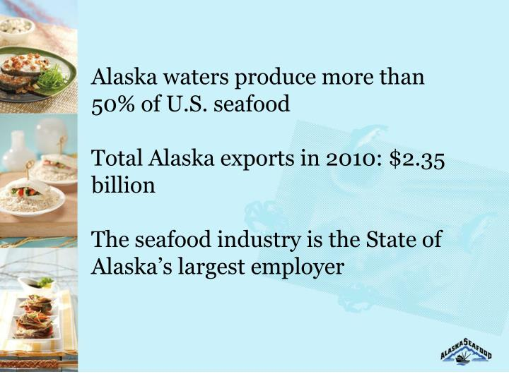 Alaska waters produce more than 50% of U.S. seafood