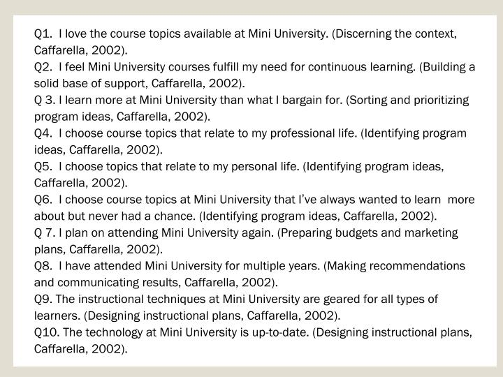 Q1.  I love the course topics available at Mini University. (Discerning the context, Caffarella, 2002).