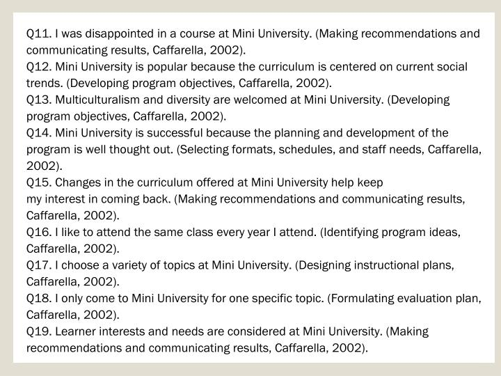 Q11. I was disappointed in a course at Mini University. (Making recommendations and communicating results, Caffarella, 2002).