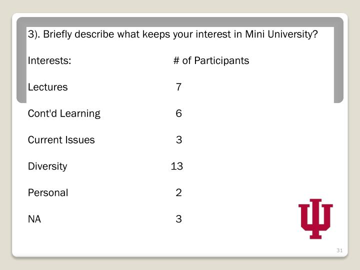 3). Briefly describe what keeps your interest in Mini University?