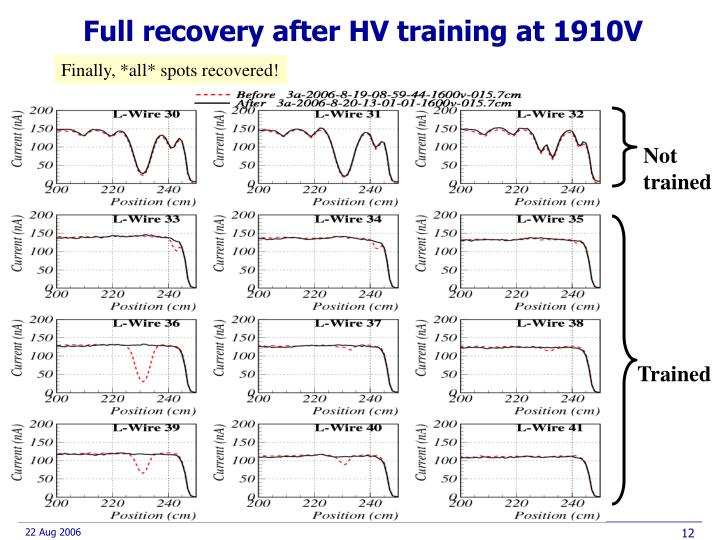 Full recovery after HV training at 1910V