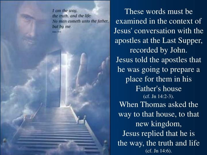 These words must be examined in the context of Jesus' conversation with the apostles at the Last Supper, recorded by John.
