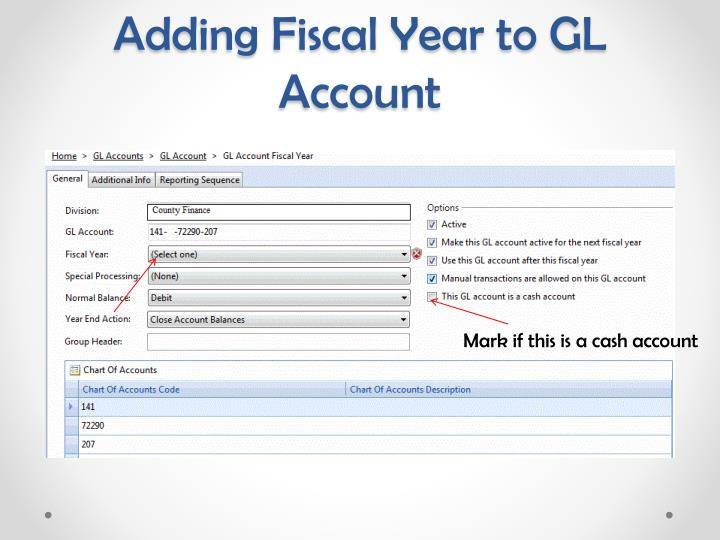 Adding Fiscal Year to GL Account