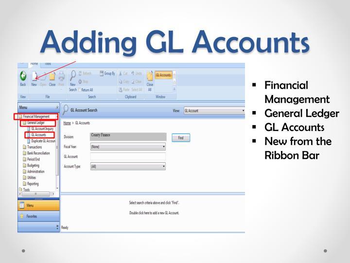 Adding GL Accounts