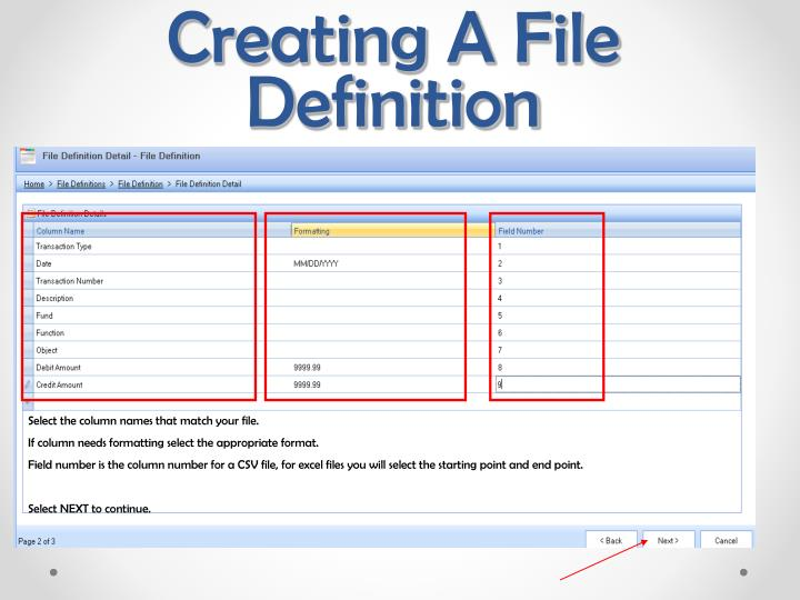 Creating A File Definition