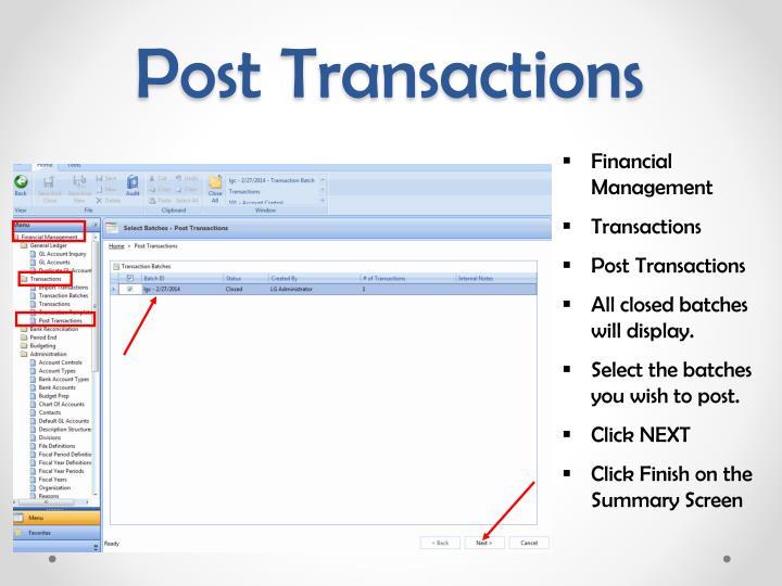 Post Transactions