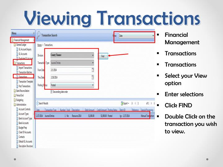 Viewing Transactions