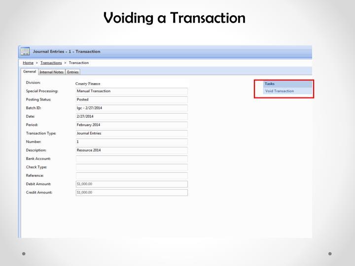 Voiding a Transaction