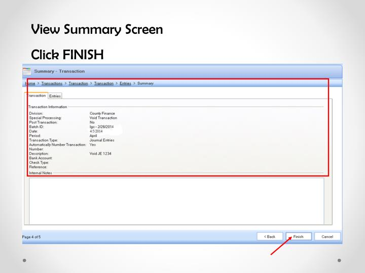View Summary Screen
