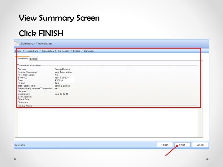 View Summary Screen