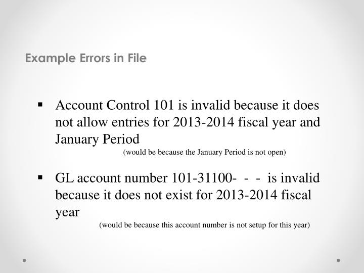 Example Errors in File