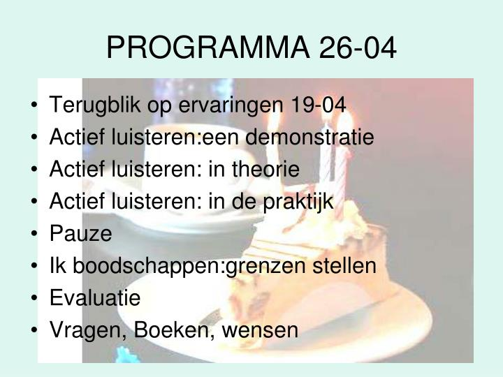 PROGRAMMA 26-04