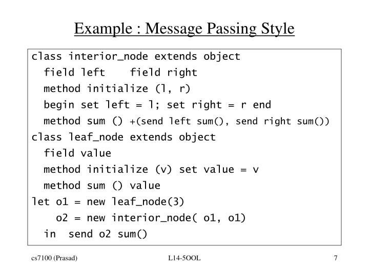 Example : Message Passing Style