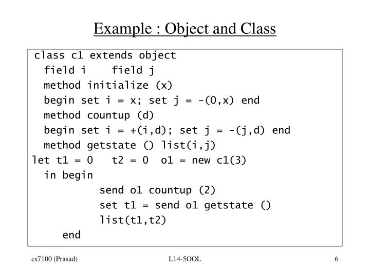 Example : Object and Class
