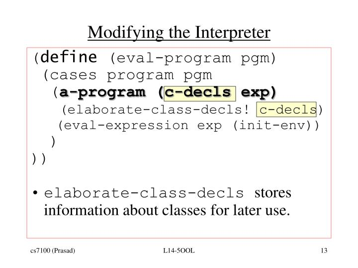 Modifying the Interpreter
