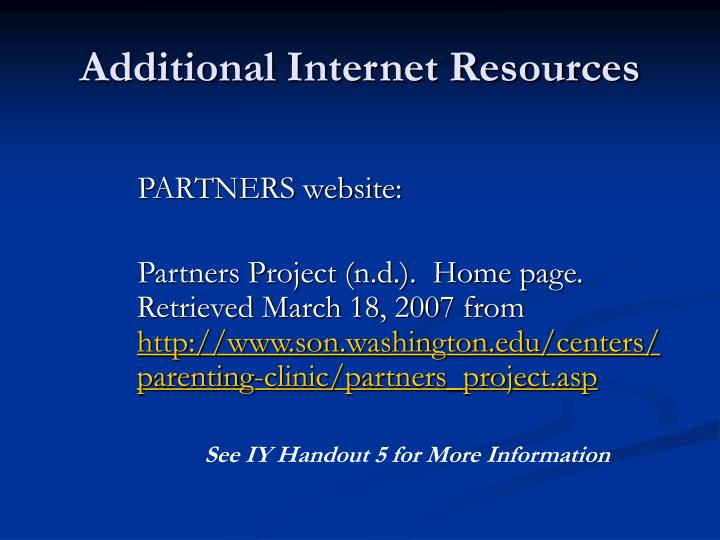 Additional Internet Resources
