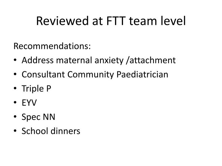 Reviewed at FTT team level