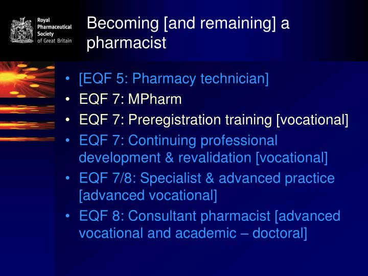 Becoming and remaining a pharmacist