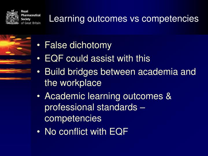 Learning outcomes vs competencies