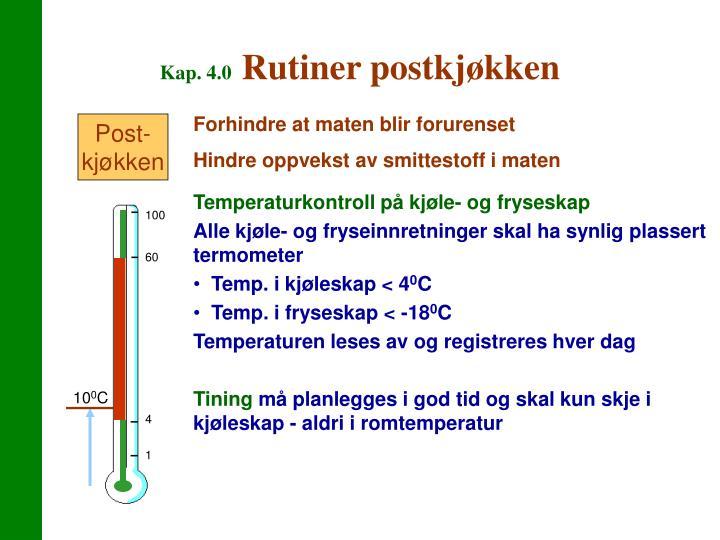 Temperaturkontroll på kjøle- og fryseskap