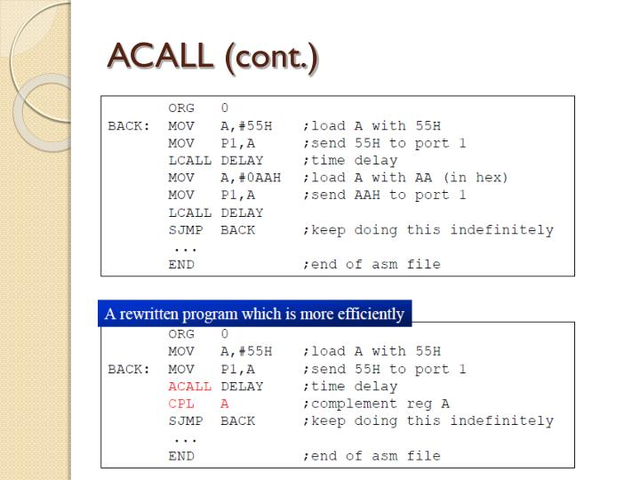 ACALL (cont.)