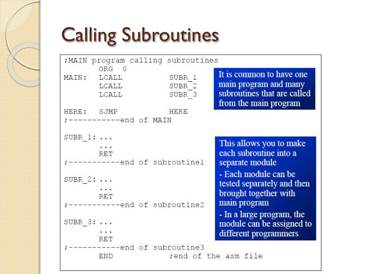 Calling Subroutines