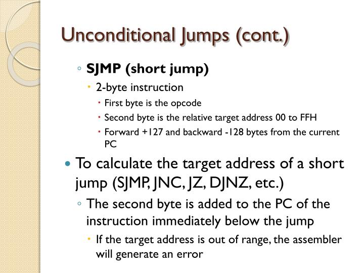 Unconditional Jumps (cont.)