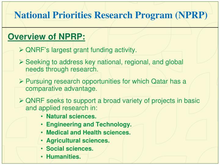National Priorities Research Program (NPRP)